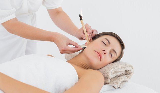 Ear Candling Training Courses - image of treatment application