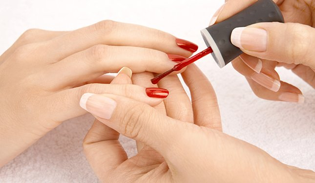 Nail Polish application on a Manicure Training Course