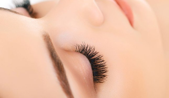 Volume Lashes Training Courses - Close up of right eye with volume lashes applied